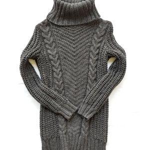 H&M XS Cable Knit Black Turtleneck Dress